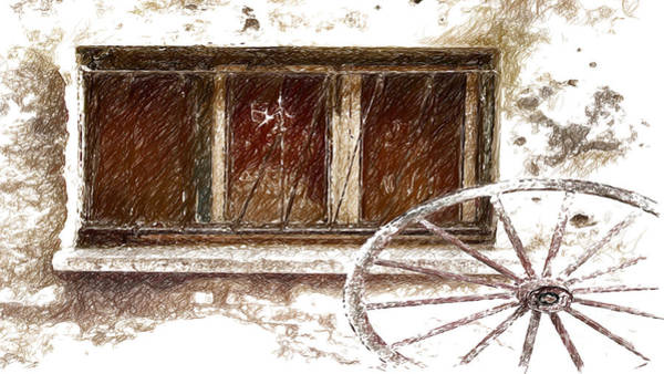 Wagon Wheel Digital Art - Old Wagon Wheel Sketch by Beverly Guilliams