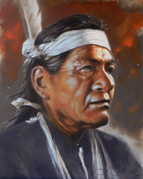 Native Painting - Old Warrior by James Loveless