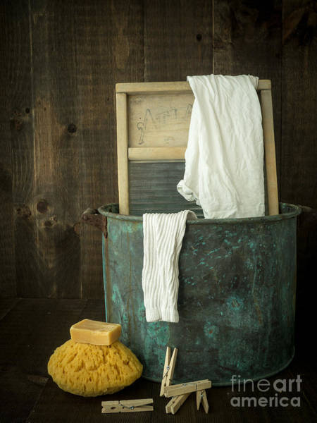 Tub Wall Art - Photograph - Old Washboard Laundry Days by Edward Fielding