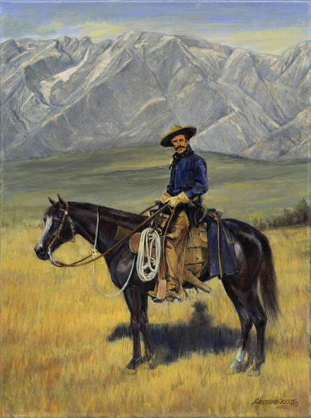 Wall Art - Painting - Old West Cowboy On Black Horse by Don  Langeneckert