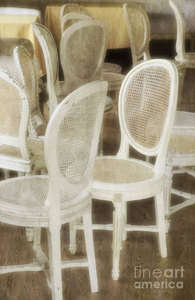Wood Pile Photograph - Old White Chairs by Carlos Caetano