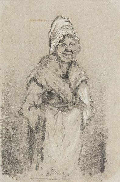 Painter Photograph - Old Woman From Normandy Full Face Pencil On Paper by Claude Monet
