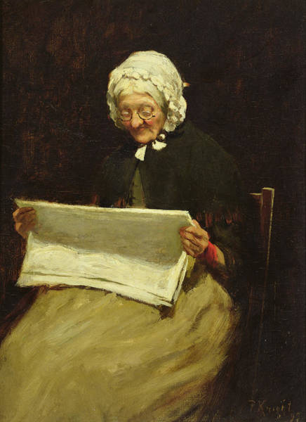 Elderly Wall Art - Painting - Old Woman Reading A Newspaper, 1895 by Paul Knight