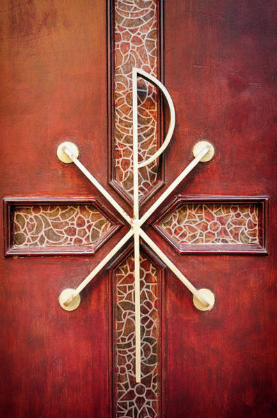 Handle Photograph - Old Wooden Cemetery Chapel Door by Maodesign