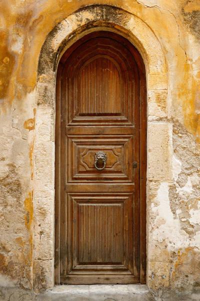 Handle Photograph - Old Wooden Door In City Of Rethymno by Windujedi