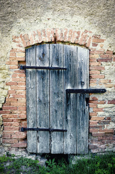 Brick Wall Photograph - Old Wooden Door by Styf22