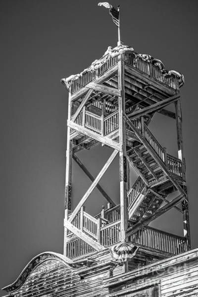 Street Performers Photograph - Old Wooden Watchtower Key West - Black And White by Ian Monk
