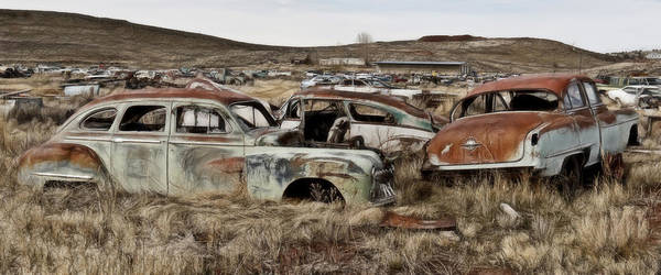 Wrecking Yard Photograph - Old Wrecks by Wes and Dotty Weber