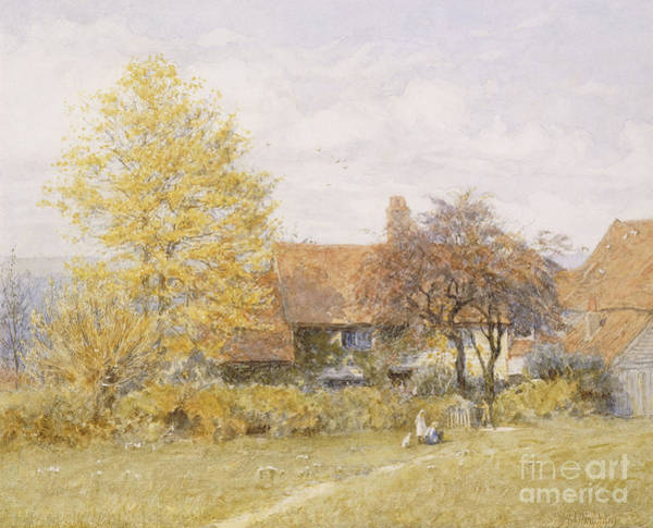 Farmstead Painting - Old Wyldes Farm by Helen Allingham