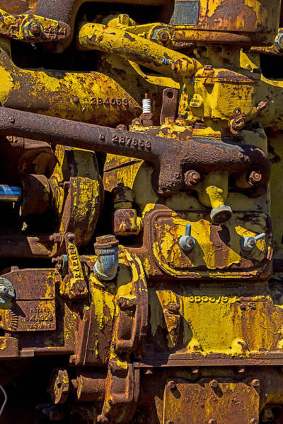 Paint Chips Photograph - Old Yellow Motor by Garry Gay