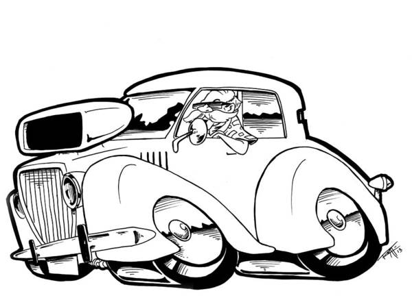 Old Chevy Truck Drawing - Olds Beach Boy by Big Mike Roate