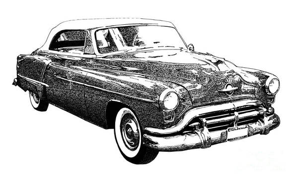 Old Car Drawing - Oldsmobile 1952 by Drawspots Illustrations