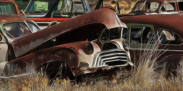 Wrecking Yard Photograph - Oldsmobile 40s by Wes and Dotty Weber