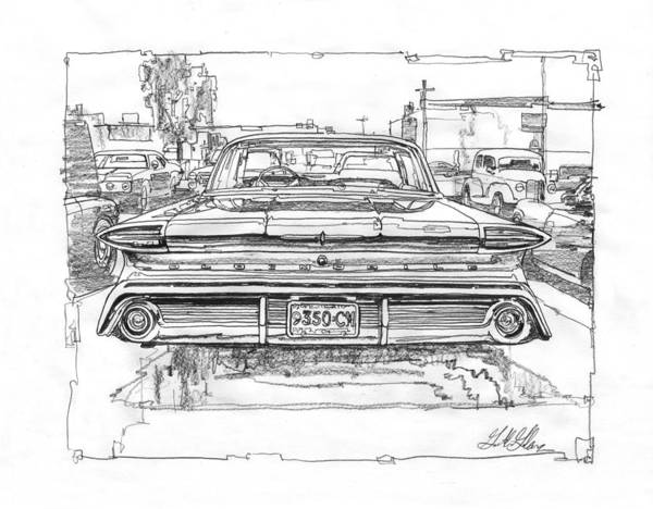 Oil Drawing - Oldsmobile 88 Study by Garth Glazier
