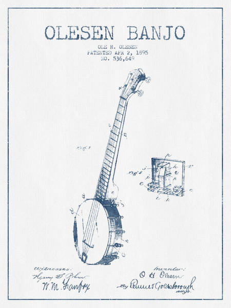 Country Living Digital Art - Olesen Banjo Patent Drawing From 1895 - Blue Ink by Aged Pixel