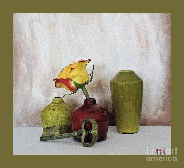 Dark Olive Green Wall Art - Photograph - Olive Green Vases Key And Yellow Rose by Marsha Heiken