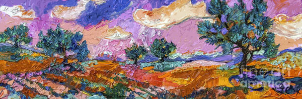 Painting - Olive Grooves Provence Panoramic Landscape by Ginette Callaway