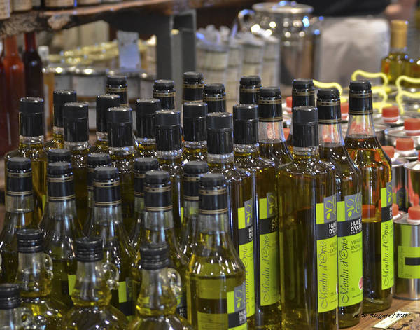 Chateauneuf Photograph - Olive Oil Bottles by Allen Sheffield