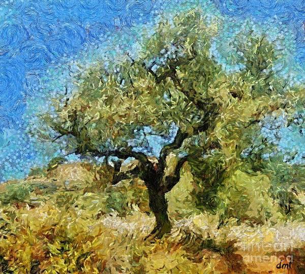 Wall Art - Mixed Media - Olive Tree On Van Gogh Manner by Dragica  Micki Fortuna