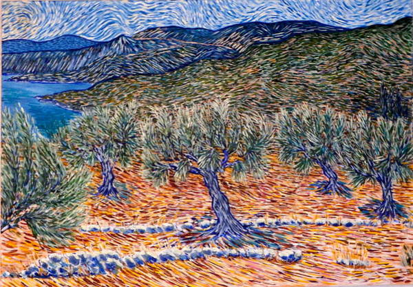 Peloponnese Painting - Olive Trees Near Kardamili by John Cullen