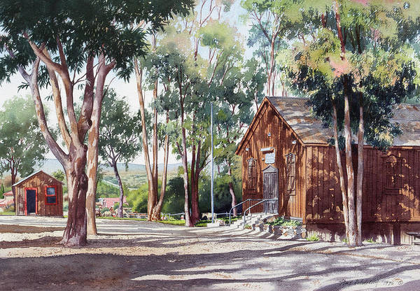 Eucalyptus Wall Art - Painting - Olivenhain Meeting House by Mary Helmreich