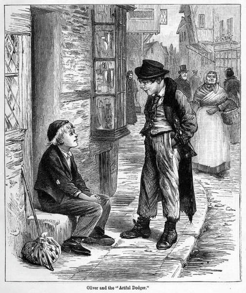 Artful Drawing - Oliver Twist Meeting The Artful Dodger by Mary Evans Picture Library