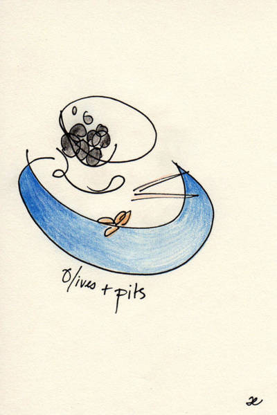 Drawing - Olives And Pits by Anna Elkins