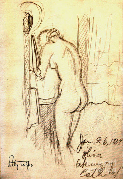 Drawing - Olivia Bathing by Art By Tolpo Collection