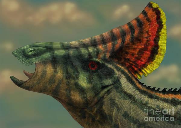 Eyeball Digital Art - Olorotitan Dinosaur Portrait by Alvaro Rozalen