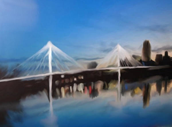 Painting - Omaha Bob Kerry Walking Bridge by Dennis Buckman