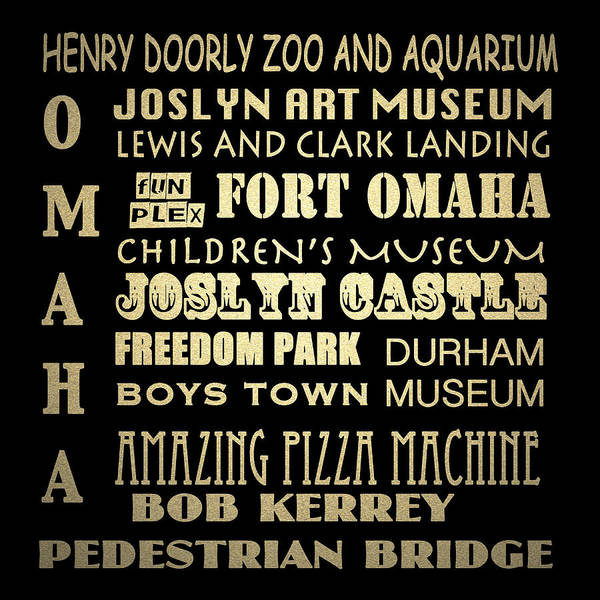 Fun House Digital Art - Omaha Famous Landmarks by Patricia Lintner