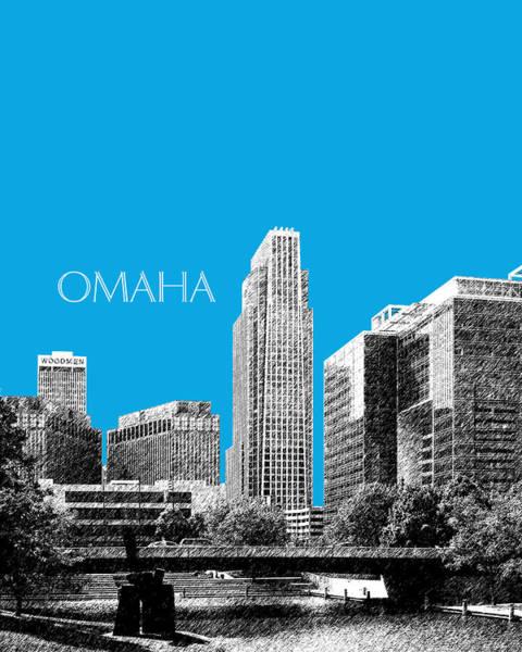 Nebraska Digital Art - Omaha Skyline - Ice Blue by DB Artist