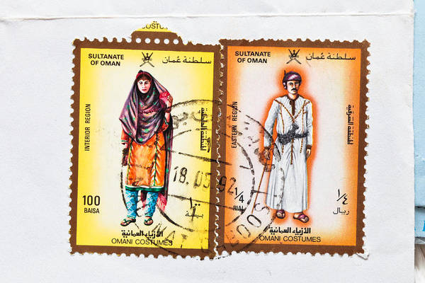 Envelop Wall Art - Photograph - Omani Stamps by Tom Gowanlock