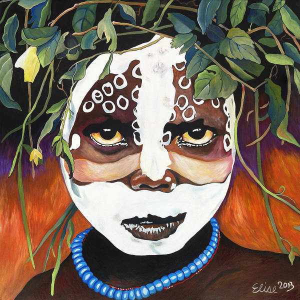 Penetrate Painting - Omo River Tribe Child by Elise Bond