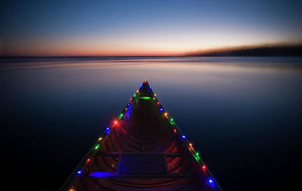 Lake Monona Photograph - On A Cold Winter Day A Canoe Decorated by David Nevala