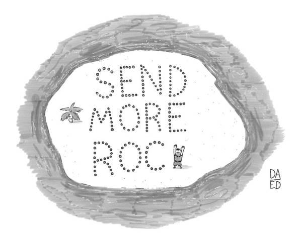 Sign Drawing - On A Desert Island by Dan Abromowitz Eli Dreyfus