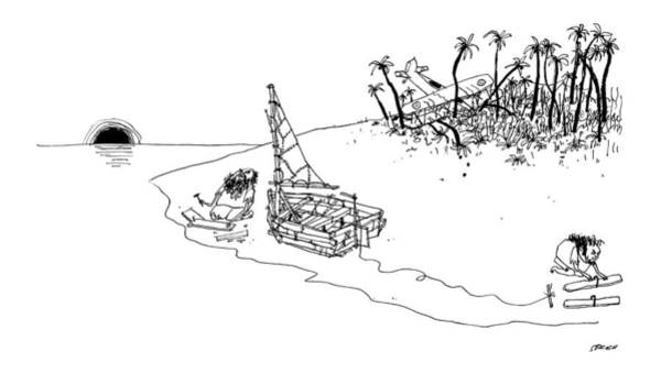 Water Drawing - On A Desert Island by Edward Steed