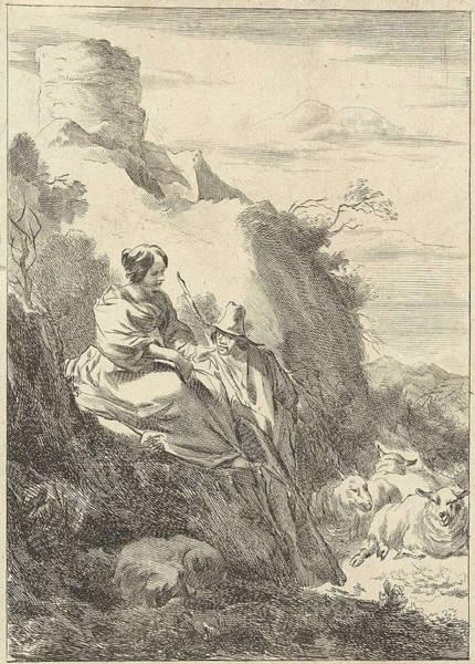Herd Drawing - On A Hill A Shepherdess And A Shepherd Can Be Seen by Jan De Visscher And Nicolaes Pietersz. Berchem