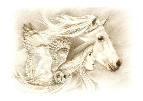 Fantasy Horse Wall Art - Drawing - On A Journey... by Johanna Pieterman