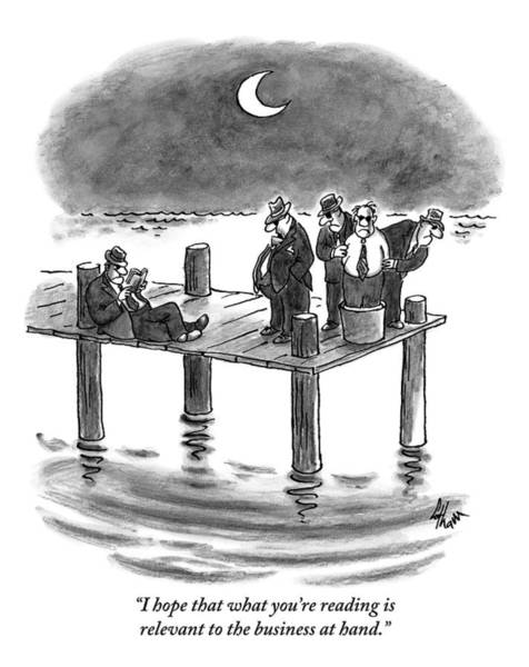 Pier Drawing - On A Pier, Three Mobsters Prepare To Drown by Frank Cotham