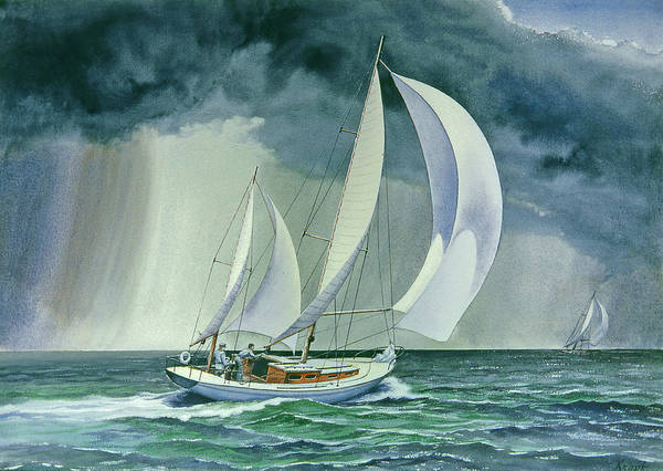 Sailing Painting - On A Reach by Paul Krapf