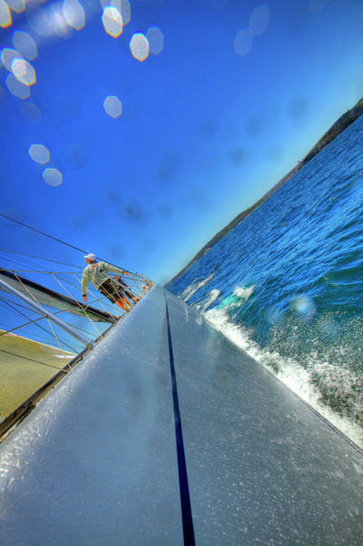 Racing Yacht Photograph - On Board Alfa Romeo During A Test Sail by Christophe Launay