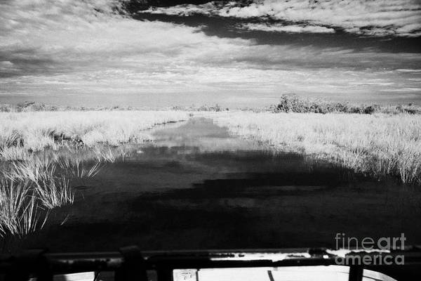 Airboat Photograph - On Board An Airboat Ride In The Grasslands Everglades City Florida Everglades Usa by Joe Fox