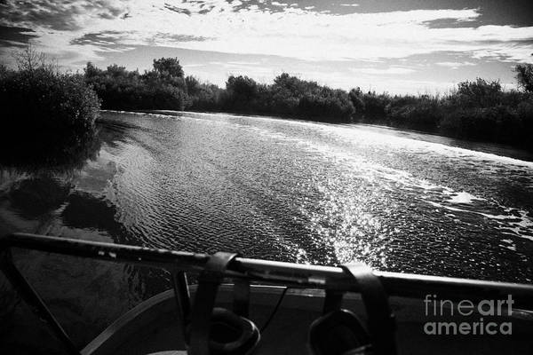 Airboat Photograph - On Board An Airboat Ride With Boat Wake In The Grasslands Everglades City Florida Everglades by Joe Fox