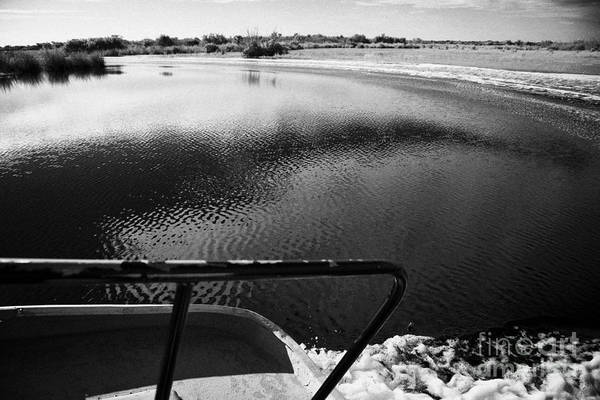 Airboat Photograph - On Board An Airboat Ride With Boat Wake In The Grasslands Everglades City Florida Everglades Usa by Joe Fox