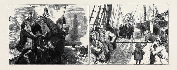 Wall Art - Drawing - On Board The Sarmatian During The Recent Voyage by English School