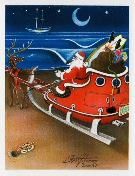 Steve Harris Wall Art - Painting - On Christmas Eve Night Santa Claus Takes Pause From Flight by Steve Harris