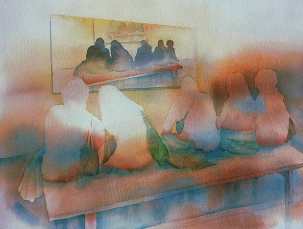 People Watching Painting - On Exhibition by Thomas Habermann