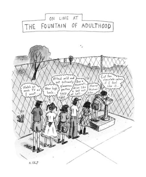 Celebrities Drawing - On Line At The Fountain Of Adulthood: Watch by Roz Chast