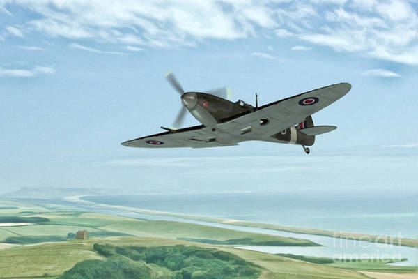Air War Painting - Spitfire On Patrol by John Edwards